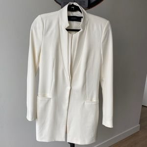 Cream Long Blazer Zara Basic M